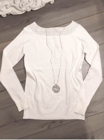 Embellished Collar Jumper - White