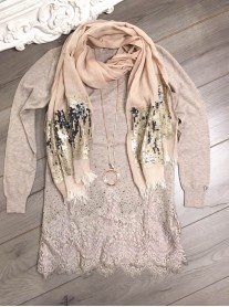 Lace Patterned Top - Beige