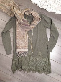 Lace Patterned Top - Khaki