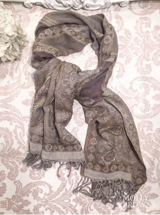 Paisley Pattern Scarf - Soft Gold