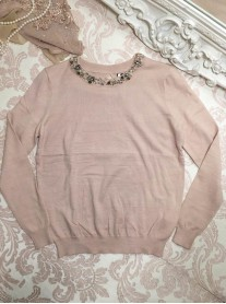 Pearl Embellished Collar Jumper - Pink