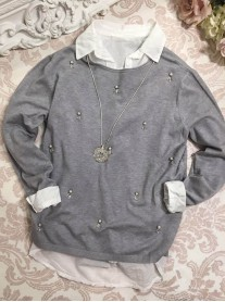 Pearl Embellished Collar Jumper - Grey
