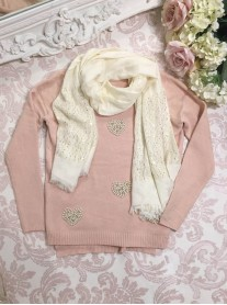 Heart Of Pearls Jumper - Pink