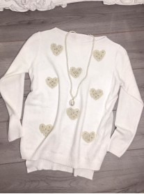 Heart Of Pearls Jumper - Ivory