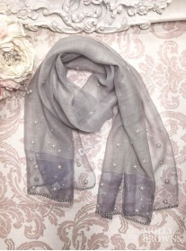 Pearl Embellished Scarf - Silver