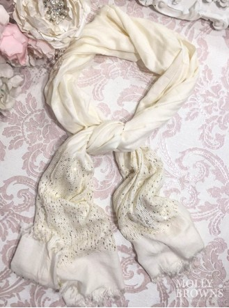 Sequinned Panel Scarf - Cream