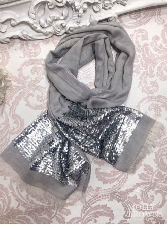 Sequin Panelled Scarf - Silver