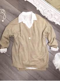V Neck Jumper - Khaki