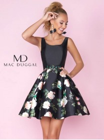 30407C - Black/Floral - Mac Duggal