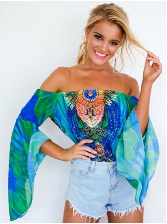 Bardot Embellished Print Top - Multi