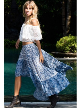 Folk Skirt - Blue (Miss June)