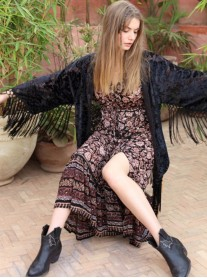 Sahara Dress/Robe - Black/Brown (Miss June)
