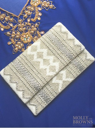 Beaded Zig-Zag Clutch Bag