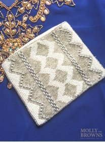 Beaded Zig-Zag Clutch Bag - Small