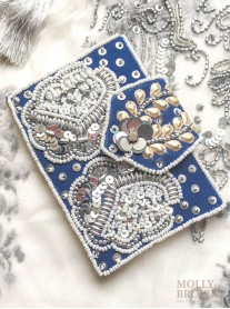 Blue & White Sequinned Credit Card Holder