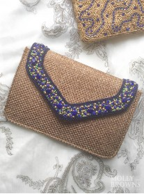 Crystal Embellished Hessian-Style Clutch Bag - Blue