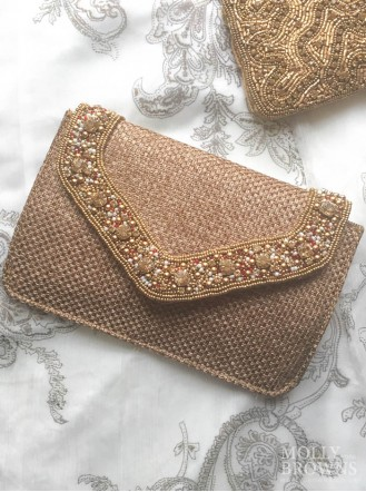 Crystal Embellished Hessian-Style Clutch Bag - Gold