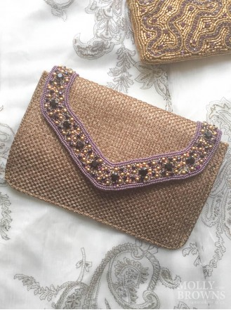 Crystal Embellished Hessian-Style Clutch Bag - Purple