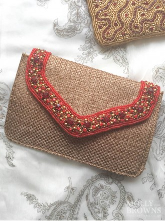 Crystal Embellished Hessian-Style Clutch Bag - Red