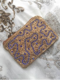 Gold & Crystal Beaded Beach Purse - Blue