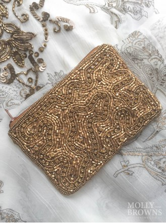 Gold & Crystal Beaded Beach Purse - Gold