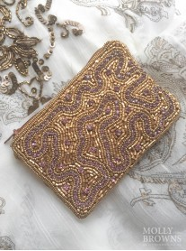 Gold & Crystal Beaded Beach Purse - Purple