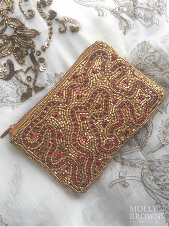 Gold & Crystal Beaded Beach Purse - Red