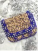 Gold & Royal Blue Sequinned & Beaded Clutch Bag
