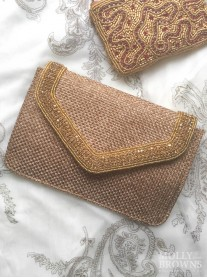 Gold Trimmed Hessian-Style Clutch Bag