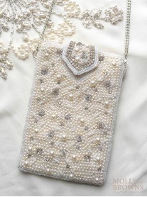 Ivory Pearl Embellished Clutch Bag - Small