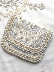 Ivory Sequinned & Beaded Clutch Bag