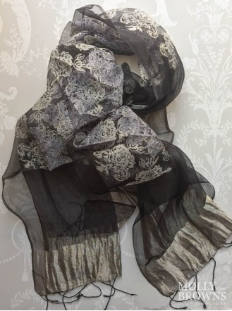 Light Silk Scarf - Black & Gold