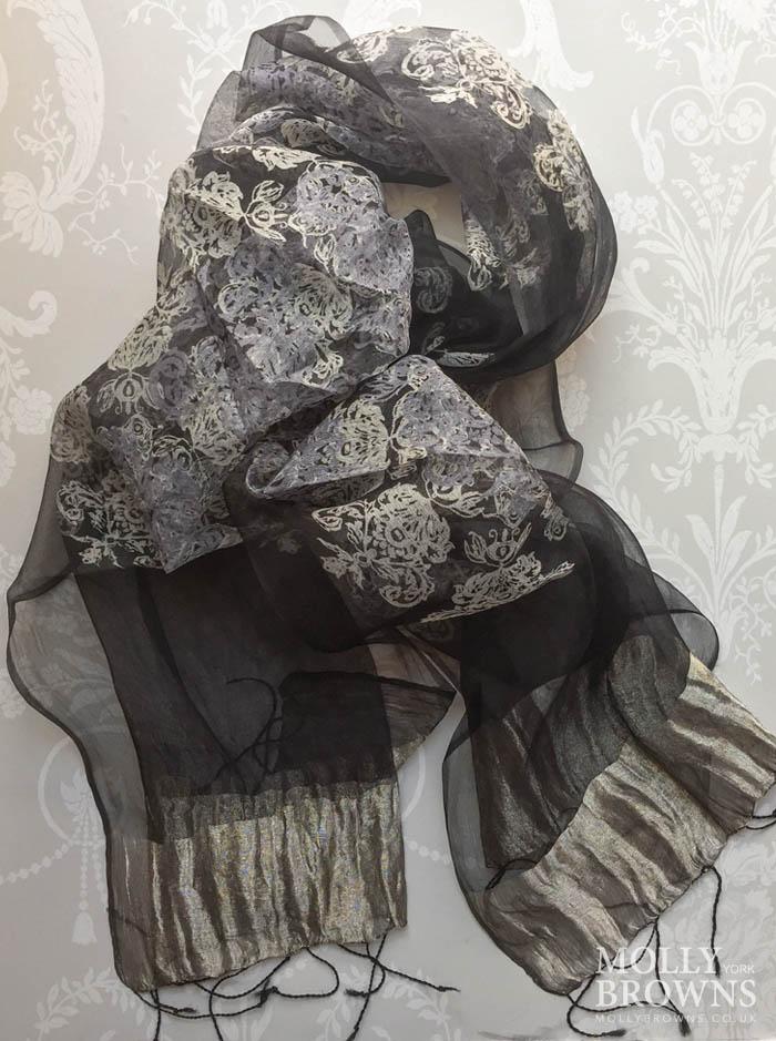 Light Silk Scarf - Black & Gold