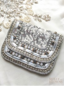 Silver Sequinned & Beaded Clutch Bag