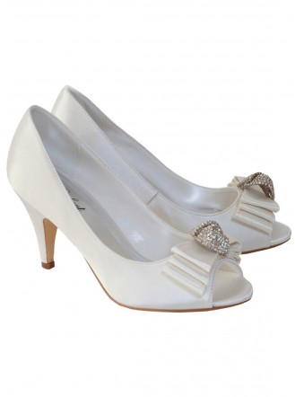 Ruby Satin & Diamante Wedding Shoes (Ivory)