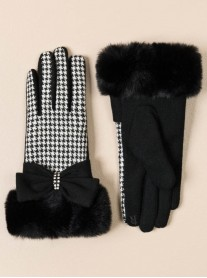 Faux Fur Embellished Gloves - Black & White
