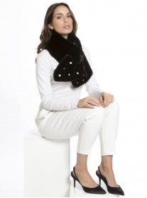 Faux Fur Pearl & Diamante Scarf - Black