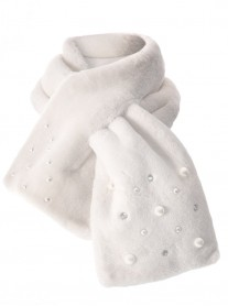 Faux Fur Pearl & Diamante Scarf - Ivory
