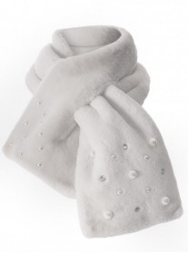 Faux Fur Pearl & Diamante Scarf - Grey