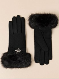 Faux Fur Embellished Gloves - Black