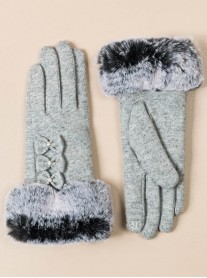 Faux Fur Bow Gloves - Grey