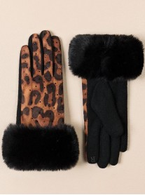 Faux Fur Gloves - Leopard Print
