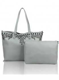 Floral Studded Tote Bag - Grey