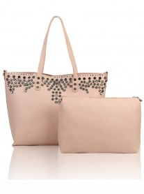 Floral Studded Tote Bag - Pale Pink