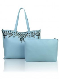 Floral Studded Tote Bag - Quay Blue