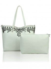 Floral Studded Tote Bag - White