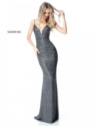 50860 - Gunmetal / Red (Sherri Hill)