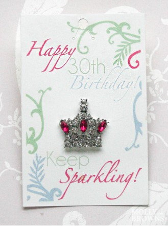 Happy 30th Birthday Silver Crown Pin