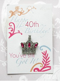 Happy 40th Birthday Silver Crown Pin