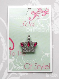 Happy 50th Birthday Silver Crown Pin